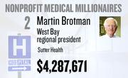 No. 2. Dr. Martin Brotman, West Bay regional president at Sutter Health of Sacramento, received total compensation of $4,287,671 in the tax year ending Dec. 31, 2010. Base pay was $1,517,694.