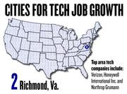 No. 2. Richmond, Va. saw a 40 percent growth in tech jobs, based on the number based on the number of jobs posted to Dice.com since March 2011. The top tech companies in Richmond include Verizon, Honeywell International Inc. and Northrop Grumann.