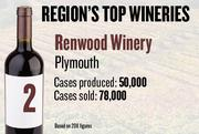 No. 2. Renwood Winery of Plymouth produced 50,000 cases of wine in 2011 and sold 78,000. It features wine tastings and tours.