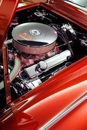 A look under the hood of Beverly Bertolucci's 1962 Chevrolet Corvette.