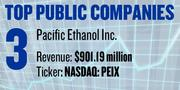 Renewable fuel company Pacific Ethanol Inc., based in Sacramento (NASDAQ: PEIX), reported revenue of $901.19 million and net income of $3.07 million in 2011. It has 155 employees.