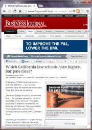 No. 3 -- Which California law schools have highest bar pass rates? (October)