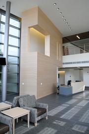 The lobby area at the newly expanded UC Davis Comprehensive Cancer Center.