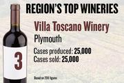 No. 3. Villa Toscano Winery of Plymouth produced 25,000 cases of win in 2011 and sold 25,000 cases. It features wine tastings, tours and events.
