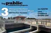 The Vineyard Surface Water Treatment Plant, at 10151 Florin Road, Sacramento, has an initial treatment capacity of 50 million gallons a day, with an ultimate capacity of 100 million gallons. Its construction includes an administration and operations building. The cost was $207 million, and the project was completed in October 2011.