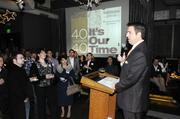 Business Journal Publisher Terry Hillman starts off the 40 Under 40 awards by welcoming the crowd gathered at Cafeteria 15L on Thursday night.