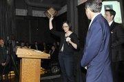 A 40 Under 40 winner accepts her award. Winners shared a few words of thanks or fun little quips.
