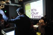 Publisher Terry Hillman thanks the crowd at the 40 Under 40 awards Thursday night at Cafeteria 15L.