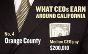 No. 4 Orange County, with a median CEO salary of $200,010. The metropolitan area has an estimated 2,860 chief executives. A CEO in this area with 20-plus years of experience and a master's degree from the local CSU campus could expect a starting salary of $230,400.