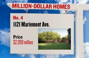 No. 4. 1121 Mariemont Ave., with an asking price of $2.200 million. The 5,906-square-foot house was built in 1991 and has 5 bedrooms and 7 bathrooms. It sits on a property of 2.07 acres. The listing, first posted on Aug. 28, 2011, is here.