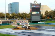 The first few loads of dirt begin the transformation of Raley Field into a monster truck track.
