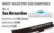 No. 4. San Bernardino, with an admission rate of 40.7 percent. The campus received 5,408 complete freshman applications for Fall 2011 and admitted 2,202.