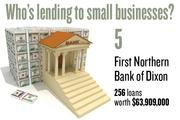 No. 5. First Northern Bank of Dixon, with 256 loans worth $63,909,000 to businesses with revenue under $1 million.