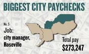 No. 5 -- $273,247 was the total gross pay in 2011 for an unnamed city manager in Roseville, according to the state controller's office. The amount includes $0 in overtime pay, $0 in lump-sum pay, and $26,031 in other pay.