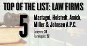 Mastagni, Holstedt, Amick, Miller & Johnsen A.P.C. has 39 local attorneys and 22 paralegals. The types of law practiced are: labor, employment, wage and hour claims, federal and state trial litigation, third-party, personal injury, uninsured motorist claims, public safety criminal defense, contract negotiations, labor relations, disability, retirement and workers' compensation.