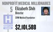 No. 5. Elizabeth Shih, chief administrative officer of Dignity Health and a director at CHW Medical Foundation of Rancho Cordova, received total compensation of $2,101,588 in the tax year ending June 30, 2010. Base pay was $601,159.