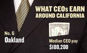 No. 6 Oakland, with a median CEO salary of $188,280. The metropolitan area has an estimated 1,950 chief executives. A CEO in this area with 20-plus years of experience and a master's degree from the local CSU campus could expect a starting salary of $211,000.