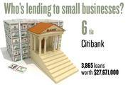 No. 6 (tie). Citibank, with 3,865 loans worth $27,671,000 to businesses with revenue under $1 million.