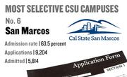 No. 6. San Marcos, with an admission rate of 63.5 percent. The campus received 9,204 complete freshman applications for Fall 2011 and admitted 5,841.