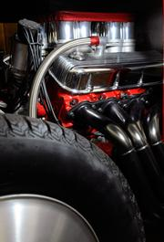 This 1930 Chevy Roadster is one of the restored cars at Bertolucci's Body and Fender Shop's museum. The drag car's all-steel body is on a specially fabricated chassis. It has a 454 cubic-inch engine. The car can do 149 mph quarter-mile in 8.85 seconds. When it still had a 300 cubic-inch engine, it could run a 137 mph quarter-mile in 9.5 seconds. It would need to be modified extensively before being allowed to compete in modern races.