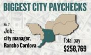 No. 7 -- $258,769 was the total gross pay in 2011 for an unnamed city manager in Rancho Cordova, according to the state controller's office. The amount includes $0 in overtime pay, $18,811 in lump-sum pay, and $53,672 in other pay.