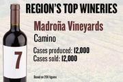 No. 7. Madrona Vineyards of Camino produced 12,000 cases of wine in 2011 and sold 12,000 cases. It features wine tastings.