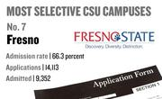 No. 7. Fresno, with an admission rate of 66.3 percent. The campus received 14,113 complete freshman applications for Fall 2011 and admitted 9,352.