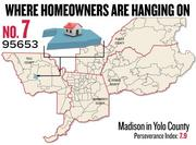 No. 7. 95653 in Madison, Yolo County, with a Perseverance Index of 7.9. The ZIP code had a delinquency rate of 5.6 percent and a negative equity rate of 43.9 percent in the first quarter, according to Zillow.