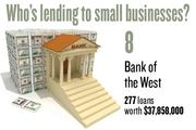 No. 8. Bank of the West, with 277 loans worth $37,858,000 to businesses with revenue under $1 million.