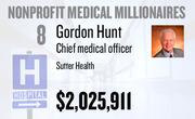 No. 8. Dr. Gordon Hunt, chief medical officer at Sutter Health of Sacramento, received total compensation of $2,025,911 in the tax year ending Dec. 31, 2010. Base pay was $800,772.