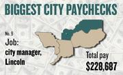 No. 9 -- $228,681 was the total gross pay in 2011 for an unnamed city manager in Lincoln, according to the state controller's office. The amount includes $0 in overtime pay, $14,416 in lump-sum pay, and $4,523 in other pay.