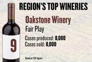 No. 9. Oakstone Winery of Fair Play produced 8,000 cases of wine in 2011 and sold 8,000 cases. It features no charge for tastings.