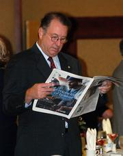 Five Sacramento-area finance executives won honors Friday at the Sacramento Business Journal's fifth annual CFO of the Year awards breakfast. The event featured a dual keynote by top executives of the Sacramento region's second-largest public company.  Mike Mattos, Sacramento Regional Transit District looks through the awards publication.