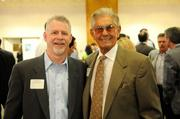 From left: Scott Kime of Rudolph & Sletten Inc. and Gus Bagatelos of Bagatelos Architectural Glass Systems Inc. at the Sacramento Business Journal's 2012 Structures breakfast.