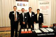 From left: Sacramento Business Journal publisher Terry Hillman with Travis Rawlings, Bill Valdez and Edgar Quilala of SureWest Communications, a Structures 2012 breakfast sponsor.