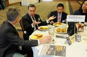 From left: Sacramento Business Journal editor Jack Robinson with panelists David Mogavero of Mogavero Notestine Associates and Ray Nalangan of SMUD at the 2012 Structures breakfast.