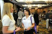 Heather Craig, left, and Monica Sandgathe, both of Eskaton, at the Sacramento Business Journal's 2012 Healthiest Employers Award luncheon. Eskaton was a finalist in the large employer category.