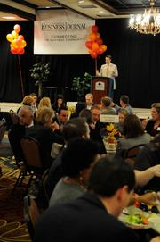 """Sacramento Business Journal publisher Terry Hillman addresses the crowd at the paper's annual """"A-plus Employers"""" event on Tuesday."""