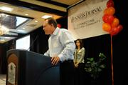 """Brad Des Jardin, president of DesCor Builders, accepts an award for his company at the Sacramento Business Journal's annual """"A-plus Employers"""" event for local companies selected as the best places to work."""