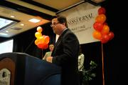 """Richard Hill, general manager of Sheraton Grand Sacramento, accepts an award for his company at the Sacramento Business Journal's annual """"A-plus Employers"""" event for local companies selected as the best places to work."""