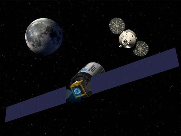 Aerojet's solar-powered space propulsion system tug is depicted with NASA's Orion spacecraft.