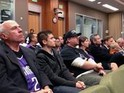 Sacramento Kings supporters lined the audience at the City Council meeting Tuesday night. The council voted unanimously to select the most qualified bidders for a possible private parking partnership for a downtown sports and entertainment complex. The crowd overflowed the council chambers by about 25 people.