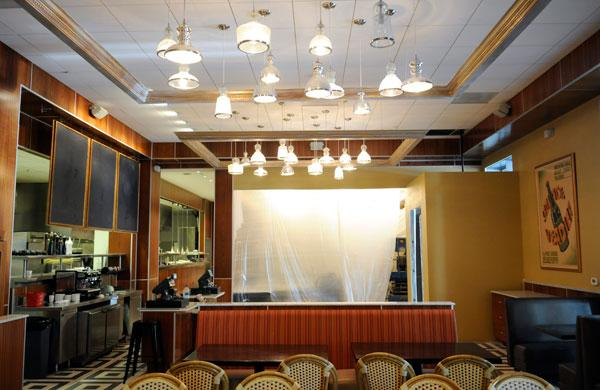 A private dining facility is still being worked on at Cafe Bernardo. The area is shielded by plastic sheeting.
