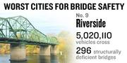 No. 9. The Riverside-San Bernardino metro area sees 5,020,110 vehicles on average crossing 296 bridges considered deficient every day. Of all the bridges in the metro area, 12 percent are considered deficient.
