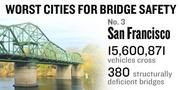 No. 3. The San Francisco metro area sees 15,600,871 vehicles on average crossing 380 bridges considered deficient every day. Of all the bridges in the metro area, 21 percent are considered deficient.