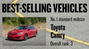 No. 1 standard midsize. Toyota Camry, with 50,250 new vehicles registered in 2012. The vehicle ranked No. 3 among all models.