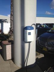 Area Ford dealers have gotten approval to sell electric vehicles. To be certified, the dealerships had to install at least two charging stations on site and train their staff on electric vehicles. Here is one of the charging stations.