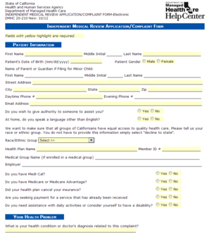 The California Department of Managed Health Care complaint form