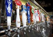 Beer taps at the Firestone Public House.