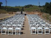 Chairs are set up to accommodate visitors at the dedication ceremony of the Lincoln Mine. Amador County Supervisor Brian Oneto said the 110 chairs is a graphic representation of the 110 jobs that will be created at the gold mine.